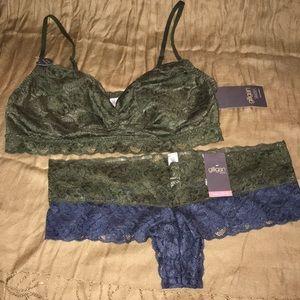 NWT Gilligan OMalley Bralette & Panty Set L XL